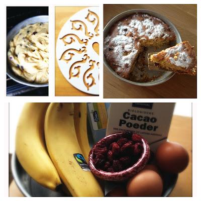 Bananen-chocoladecake met cranberry's