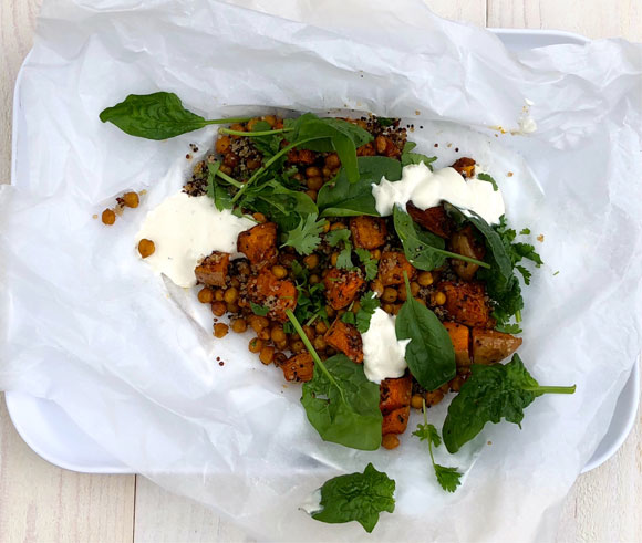 Kruidige pompoen & kikkererwten met quinoa
